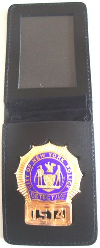 N.Y.P.D. DETECTIVE BADGE SHIELD + FLIP OVER BADGEHOLDER