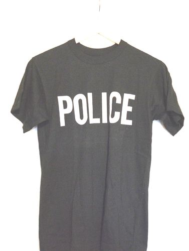 T-SHIRT POLICE BLACK SIZE S