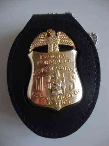 FBI BADGE SHIELD & CLIP ON BADGEHOLDER