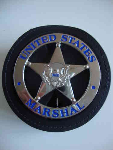 US MARSHAL BADGE SHIELD & CLIP ON BADGEHOLDER